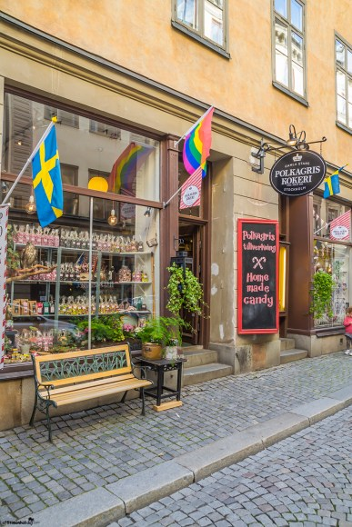 Traditional Swedish candy in the old town of Stockholm