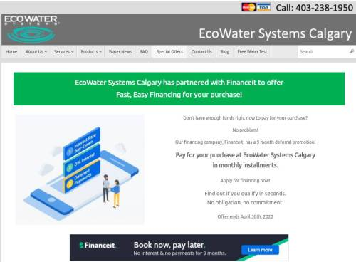 water filtration system in Calgary no payment financing