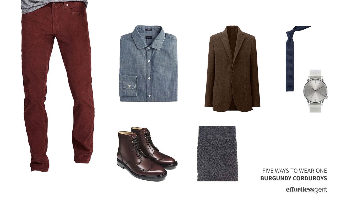 Five Ways To Wear On: Burgundy Corduroys