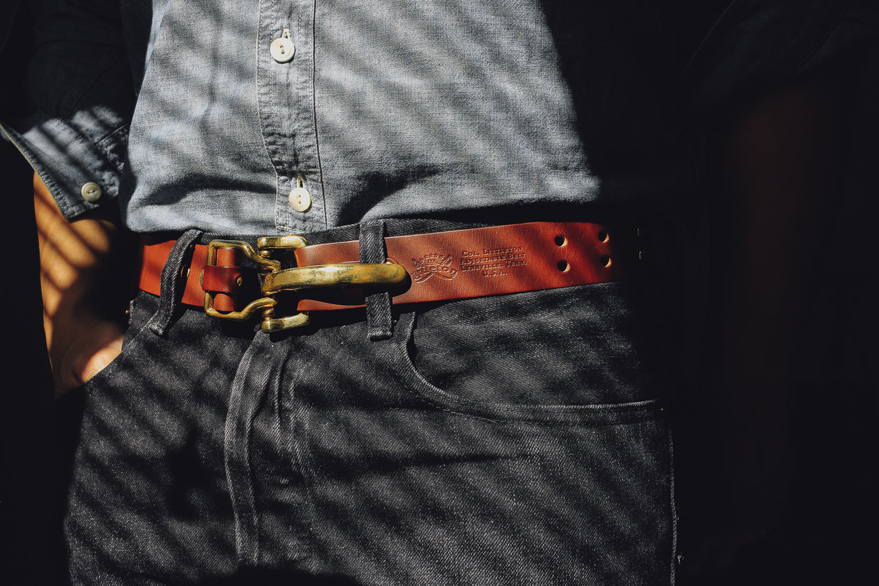 colonel littleton leather cinch belt