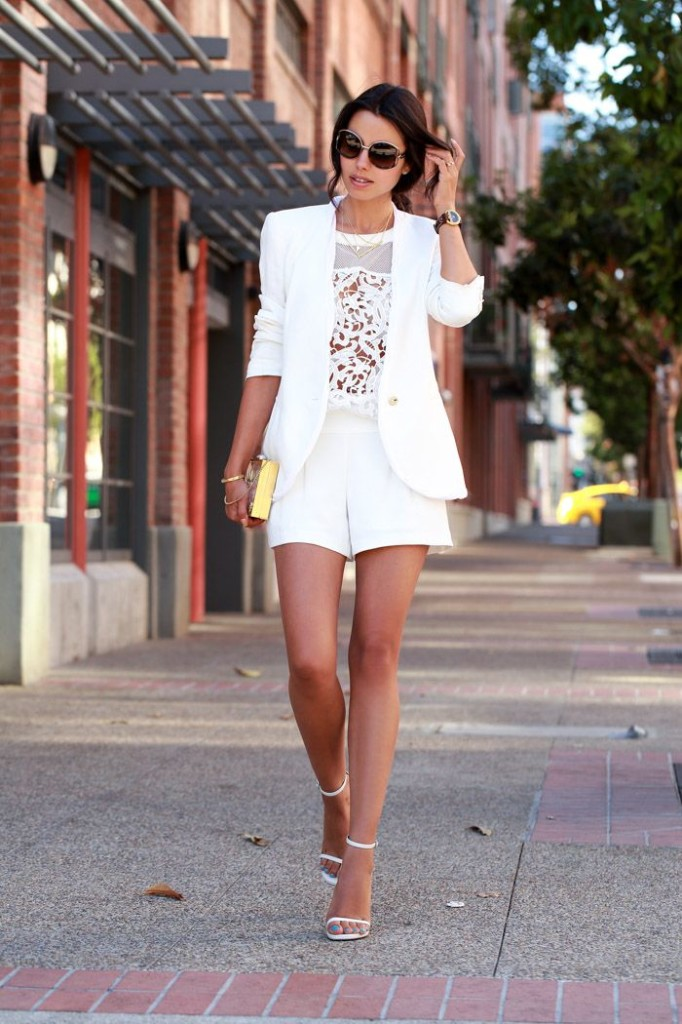 10 Ways to Wear a White Blazer Monochromatic All White