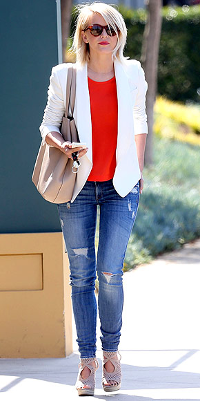 10 Ways to Wear a White Blazer Bright Colors Julianne Hough