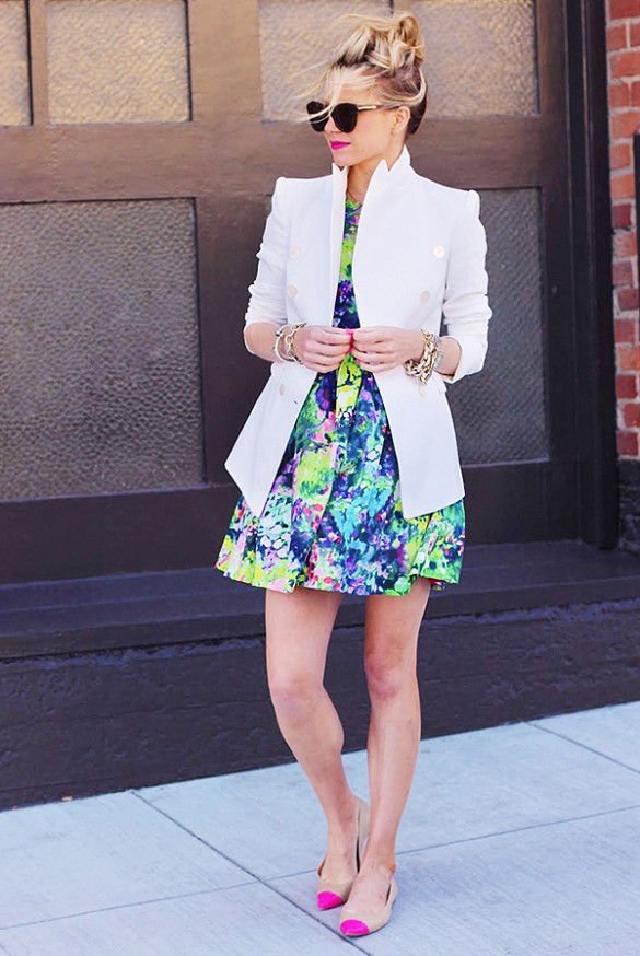 10 Ways to Wear a White Blazer Floral Dress