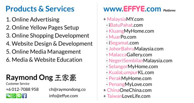 Raymond Ong Effye Media Segamat Website Design Online Media Advertising Web Development Education Webpage Facebook eCommerce Management Photo Shooting Malaysia NC02