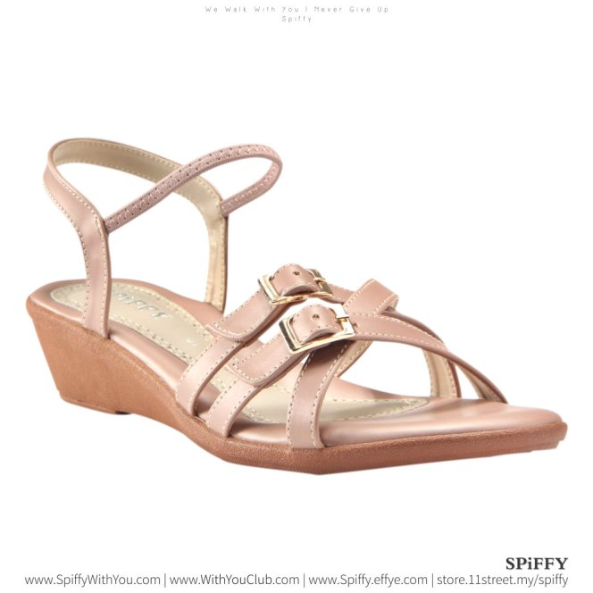 Fashion Modern Malaysia Heels Sandal Shoes 时尚凉鞋 Spiffy Brand YYM1774027 Pink Colour Shoe Ladies Lady Leather High Heels Wedges Shoes Online Shopping 11Street Lazada 02