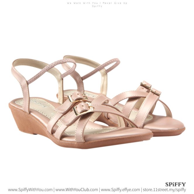 Fashion Modern Malaysia Heels Sandal Shoes 时尚凉鞋 Spiffy Brand YYM1774027 Pink Colour Shoe Ladies Lady Leather High Heels Wedges Shoes Online Shopping 11Street Lazada 03