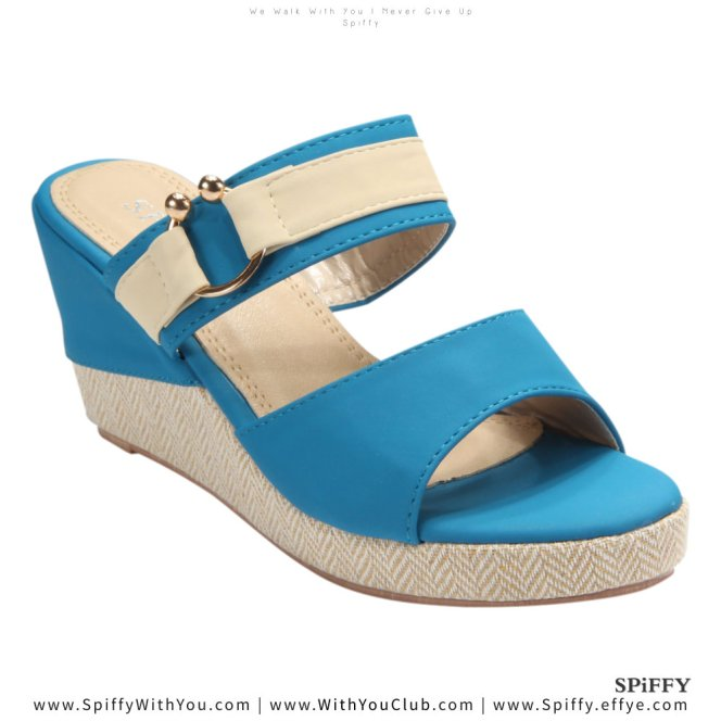 Fashion Modern Malaysia Wedges Shoes 舒适松糕鞋 Spiffy Brand CT3519003 Blue Colour Shoe Ladies Lady Leather High Heels Wedges Shoes Online Shopping 11Street Lazada 03