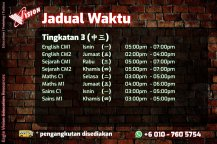 Jadual Waktu Tuition Kota Tinggi 2020 Eagle Vision Education Resources Subject Yang Diajar Sejarah Sains Maths AddMaths Fizik Kimia IGCSE Education Kota Tinggi Training A03