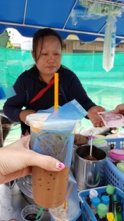 Breakfast on the streets…~ (Nice Burger, Nice Local Coffee Ice) - at【芭东区Patong Beach, Phuket (หาดป่าตอง ภูเก็ต)】街上到处都有嘟嘟车