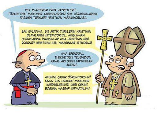 sömürge medya papa hristiyan karikatür