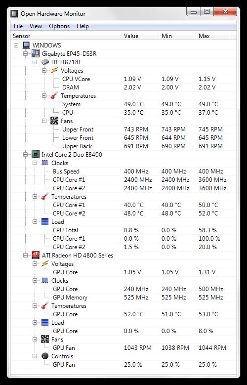 Open Hardware Monitor لعرض درجة حرارة CPU وجميع أجزاء الكمبيوتر