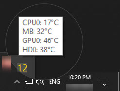 Speccy CPU status in system tray icon
