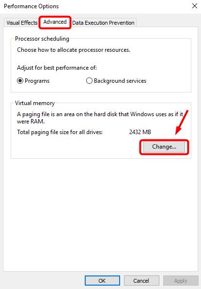 change Virtual memory
