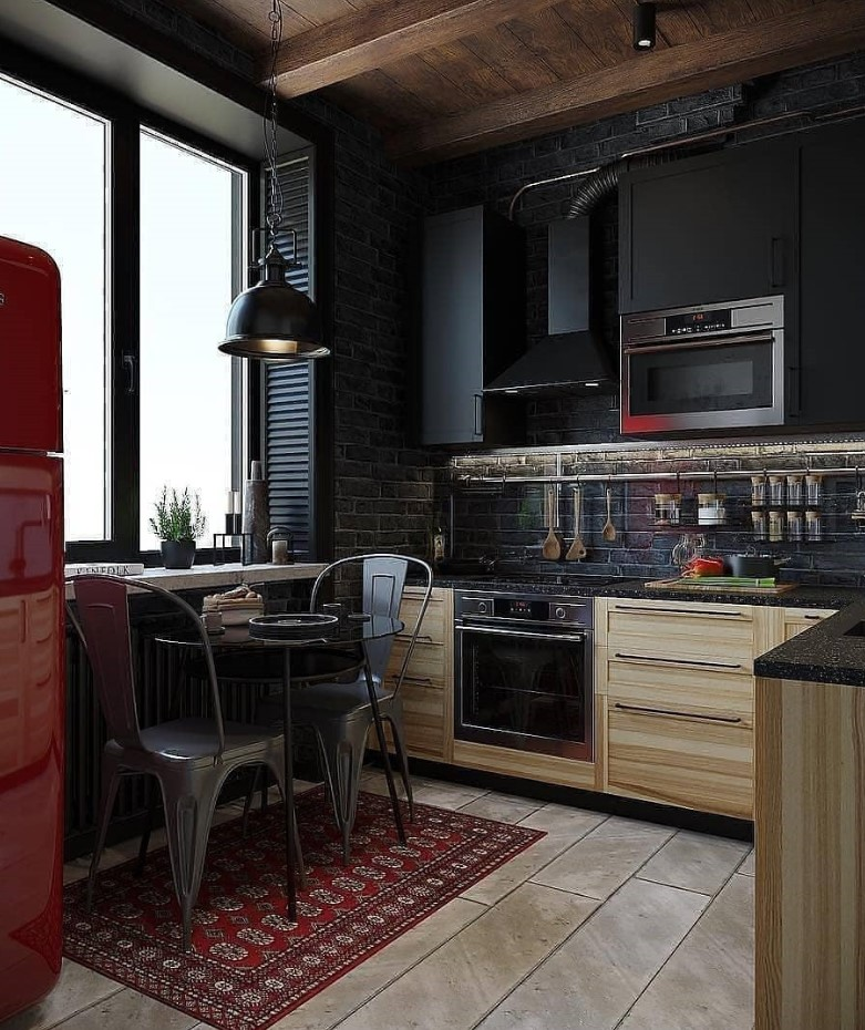 Best Creative Small Kitchen Design And Organization Ideas with black theme
