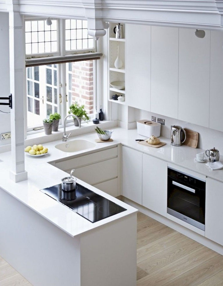 Best Creative Small Kitchen Design And Organization Ideas with white cabinet and wood flooring