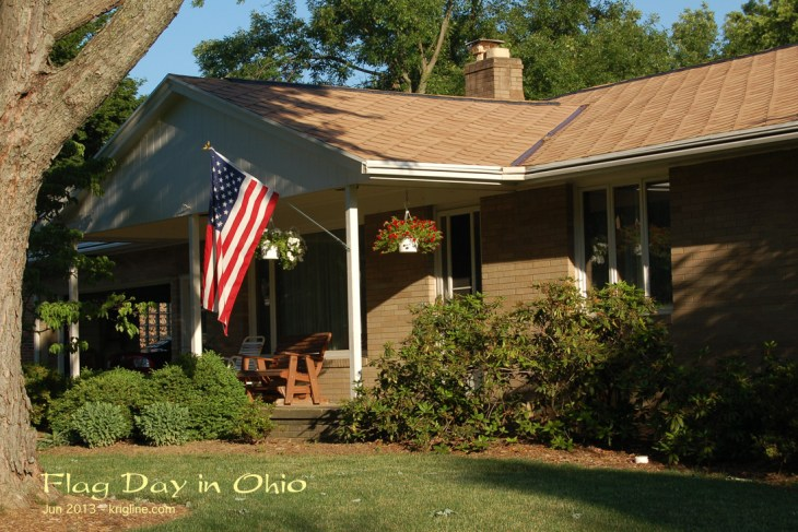 The US flag outside the home in which I grew up.