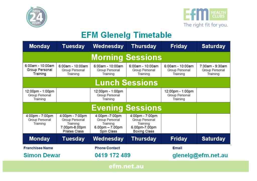 EFM Time Table