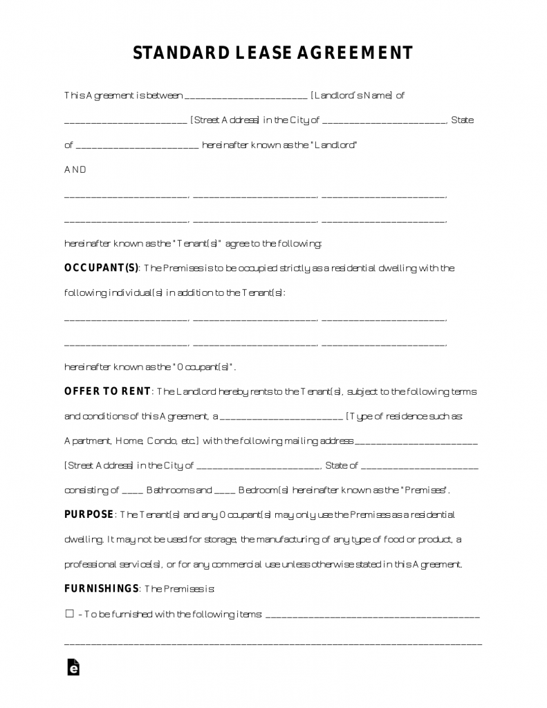 Free Rental Lease Agreement Templates - Residential
