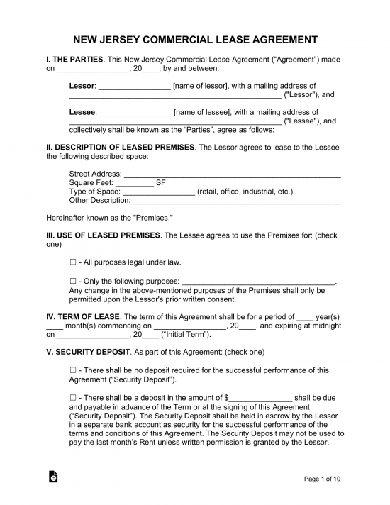 Free New Jersey Al Lease Agreements