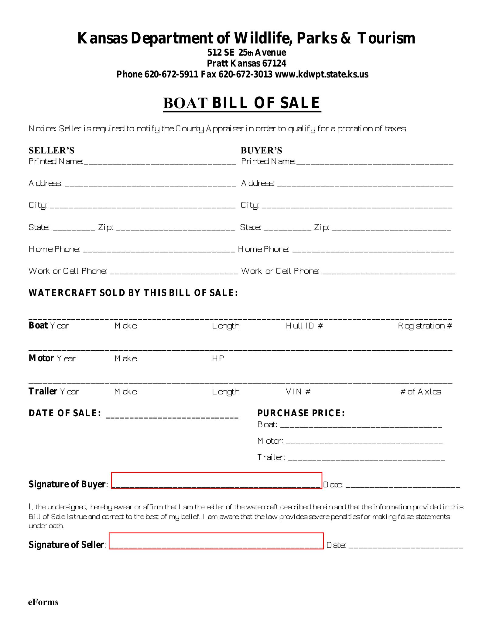 Free Kansas Watercraft Bill Of Sale Pdf Format Pdf