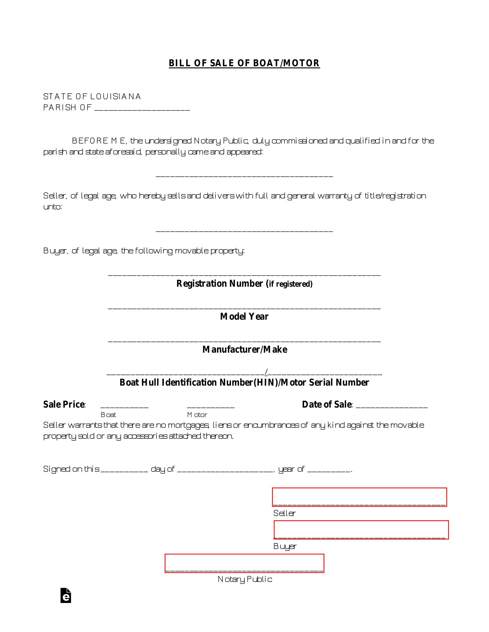 Free Louisiana Boat Bill Of Sale Form