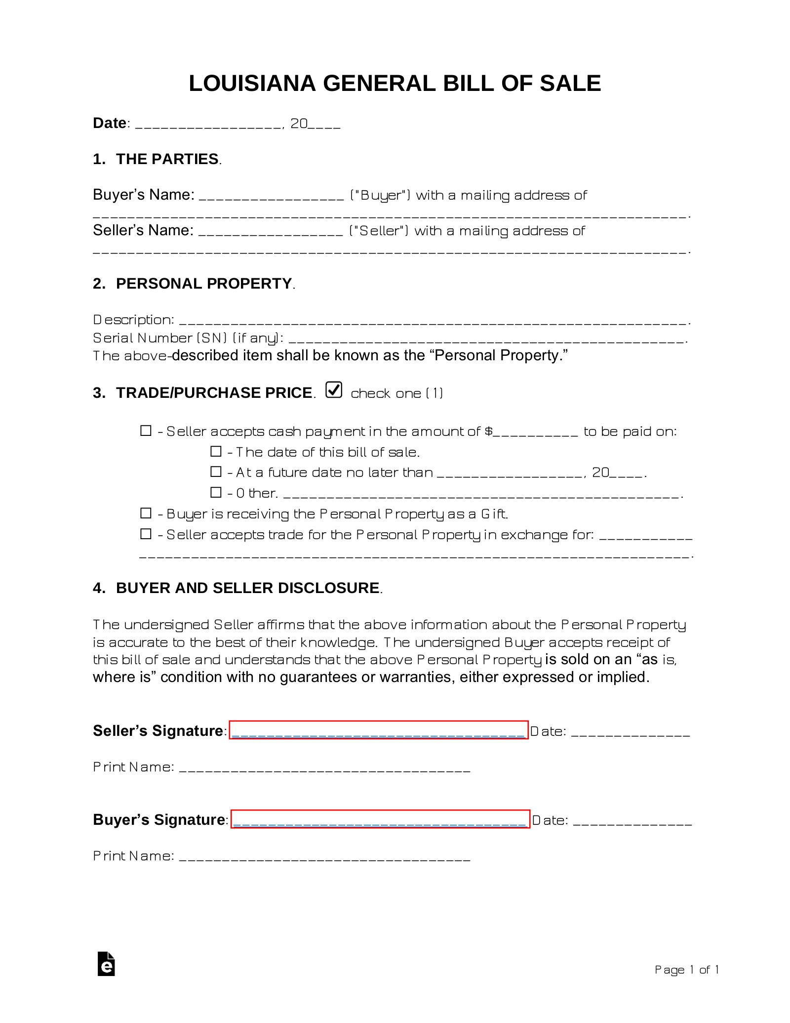 Free Louisiana General Bill Of Sale Form