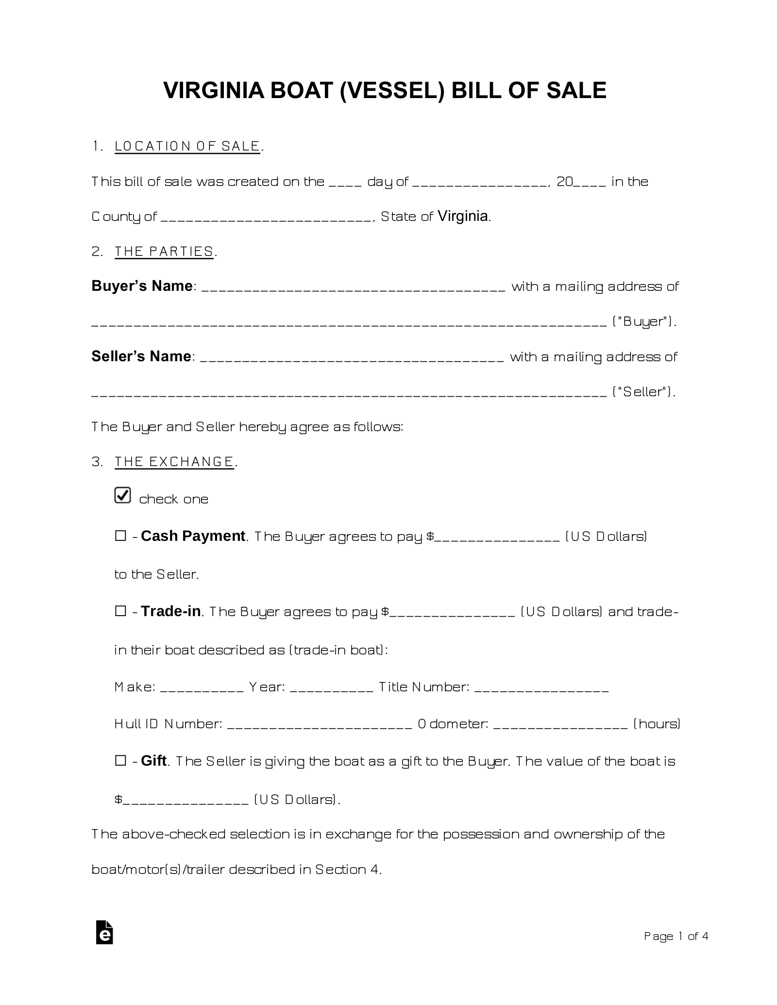 Free Virginia Boat Bill Of Sale Form