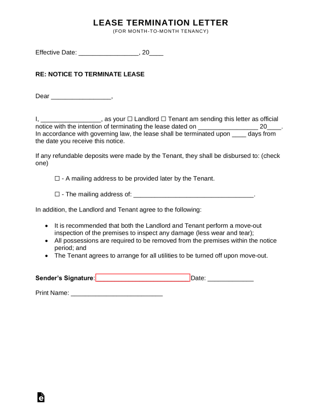 Lease Termination Letters 30 Day