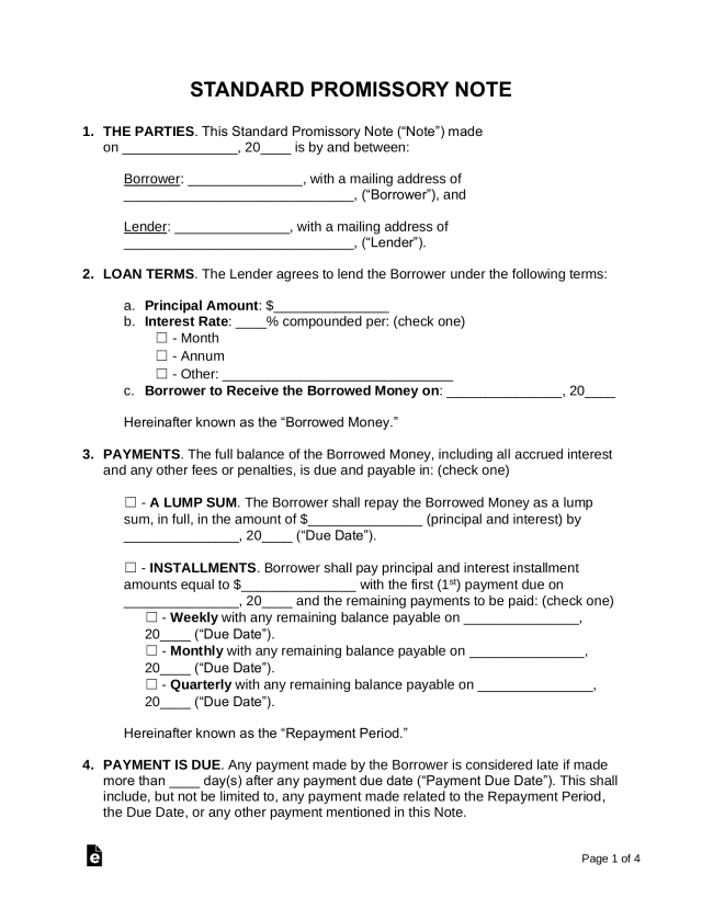 Free Promissory Note Template - Word  PDF – eForms