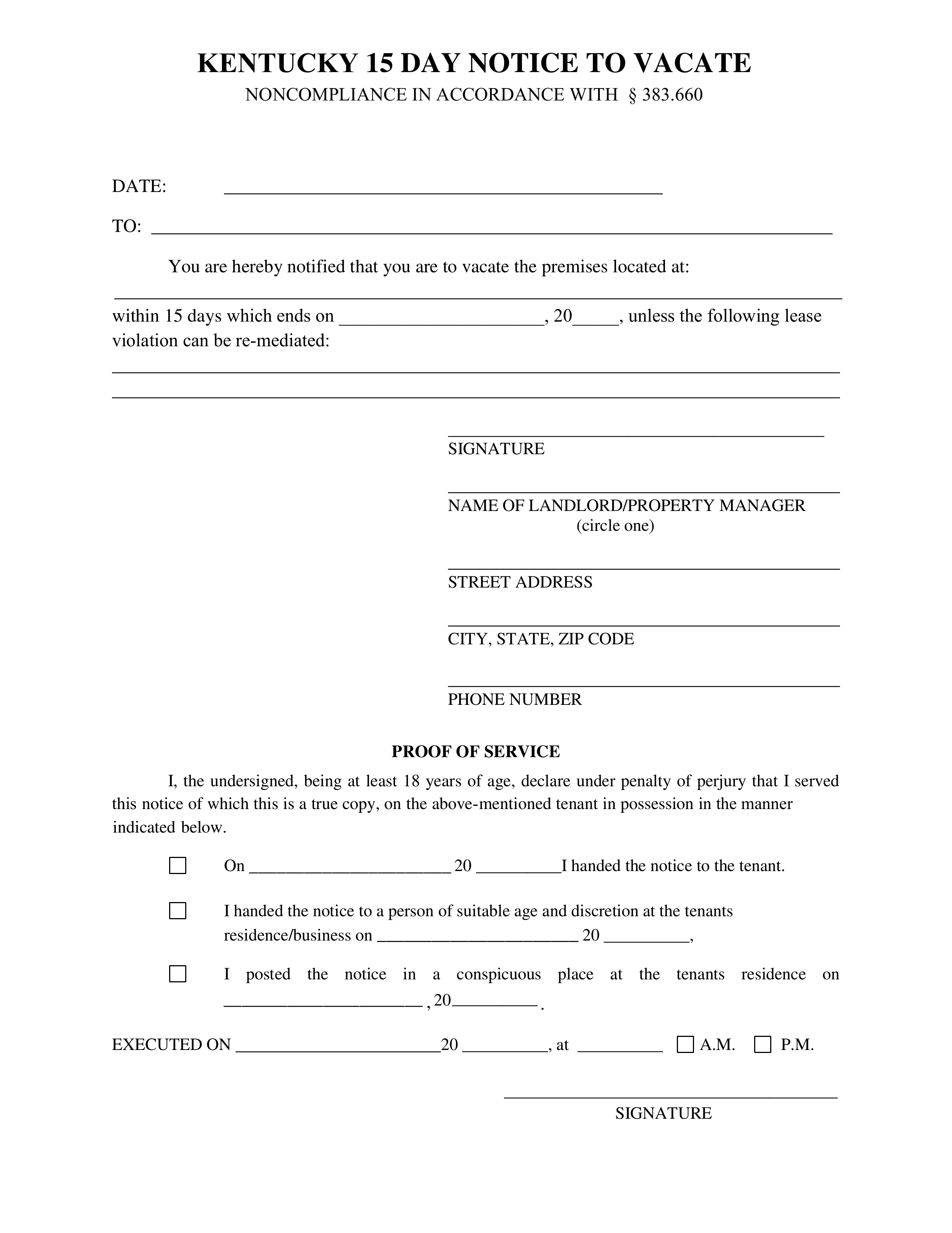 Kentucky 15 Day Notice To Quit Form Non Compliance