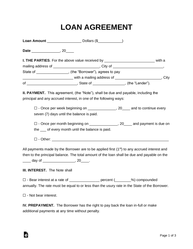 Free Loan Agreement Template - PDF  Word – eForms