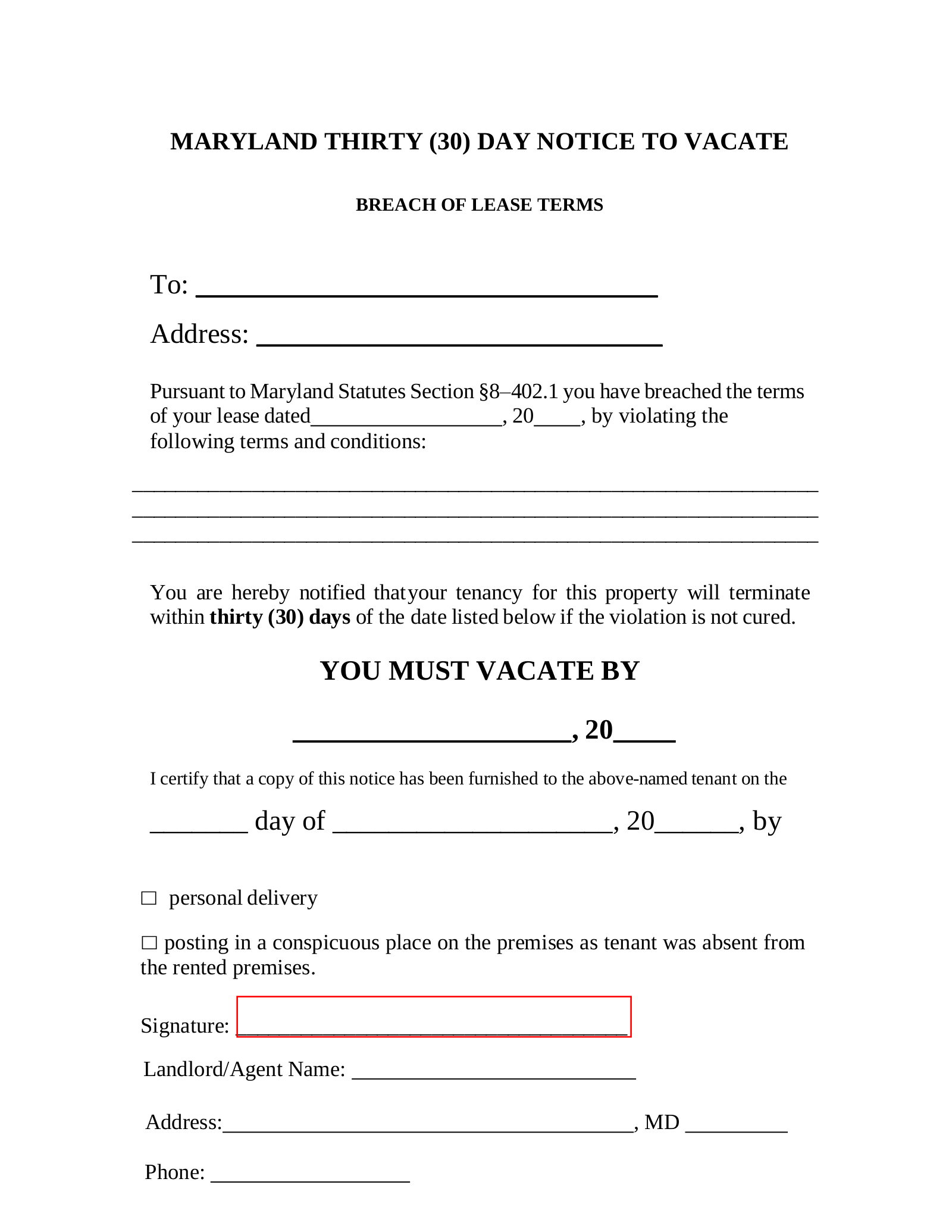 Maryland 30 Day Notice To Quit Form Non Compliance