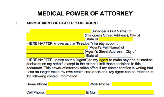 Free Medical Power Of Attorney Forms Living Wills Pdf