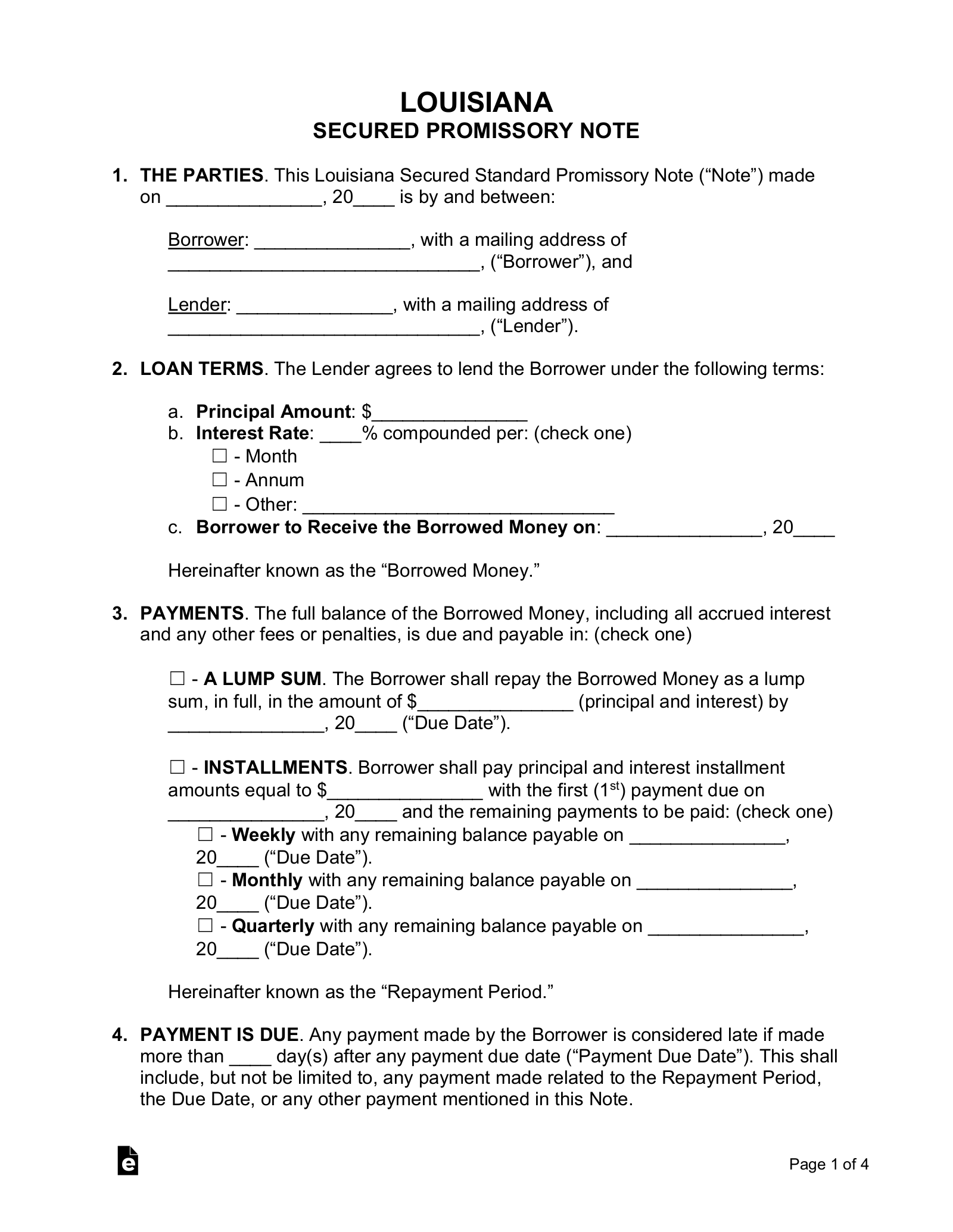 Free Louisiana Secured Promissory Note Template Word Pdf