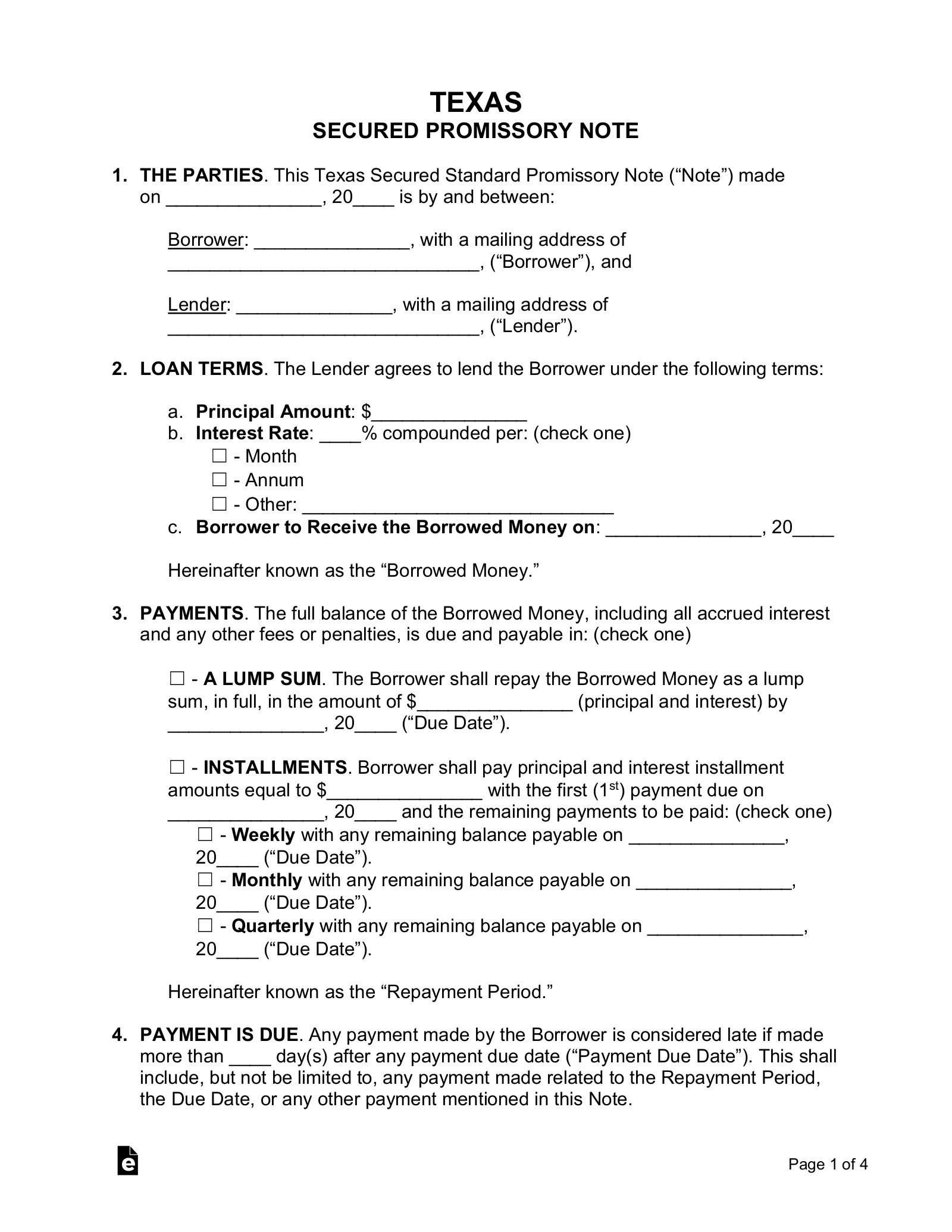 Free Texas Secured Promissory Note Template Word Pdf