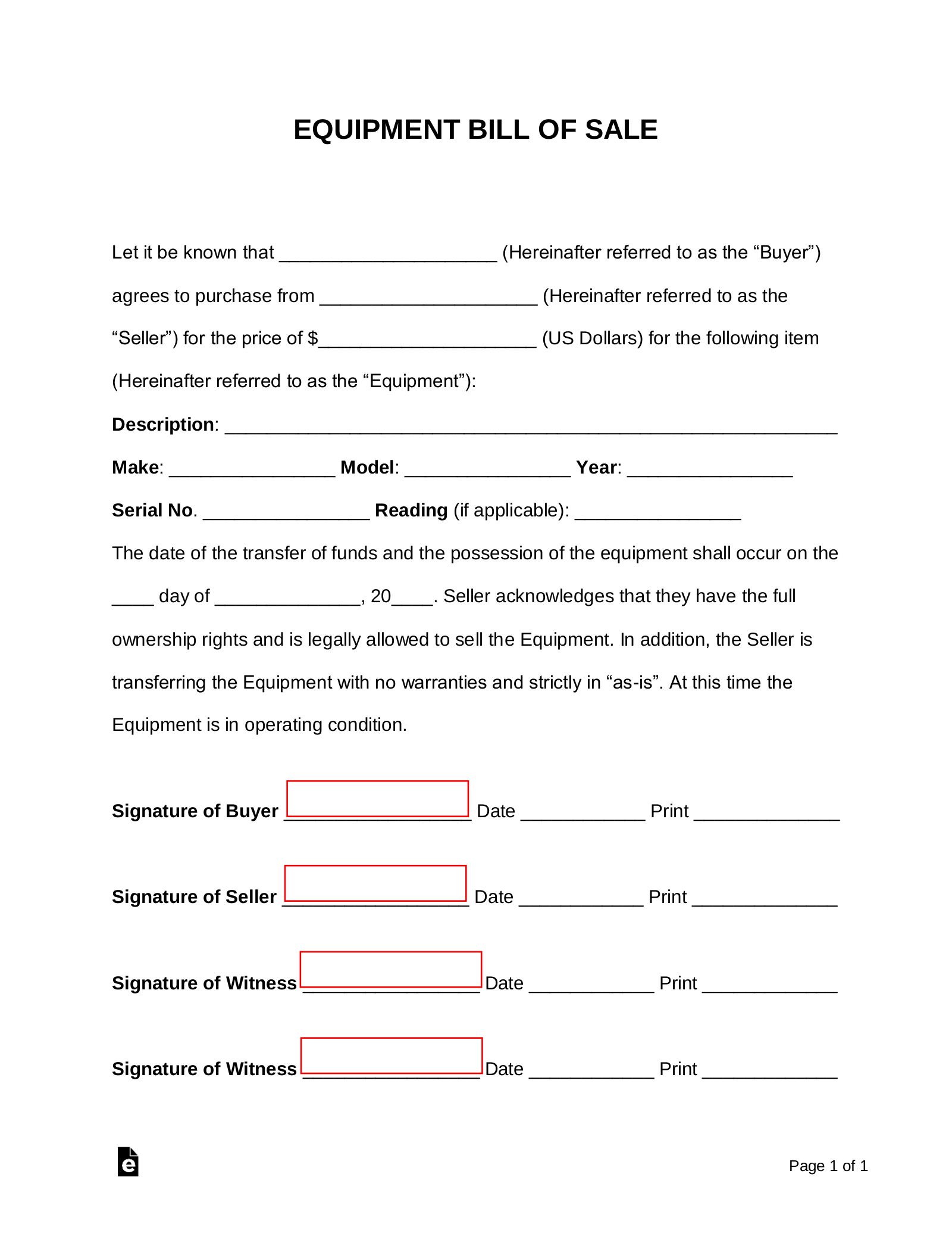 Free Equipment Bill Of Sale Form