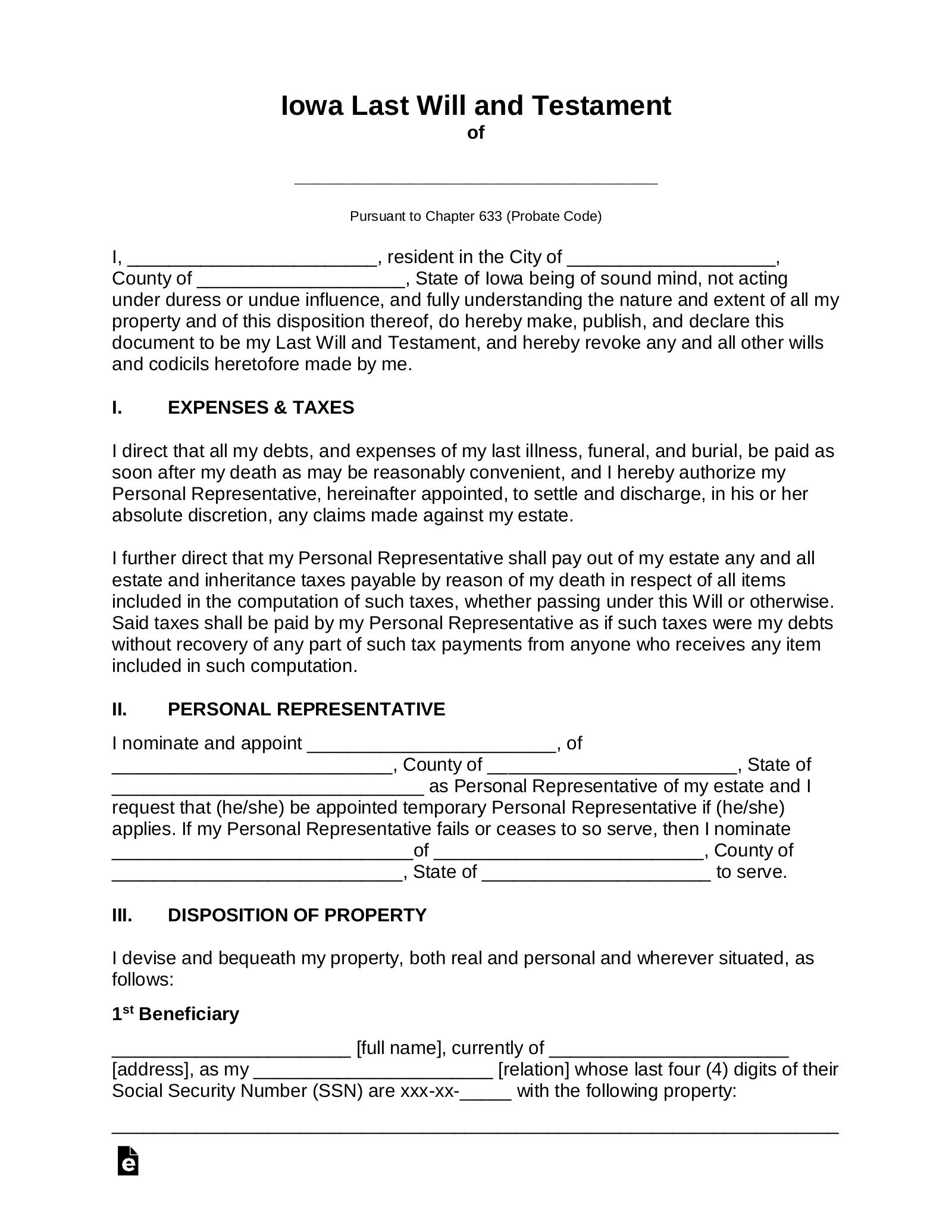 Free Iowa Last Will And Testament Template Pdf Word