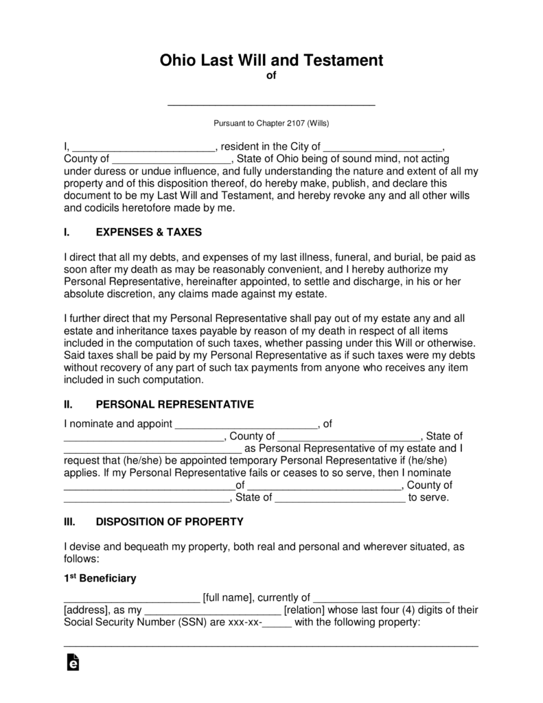 Free Ohio Last Will And Testament Template PDF Word EForms Free Fillable Forms