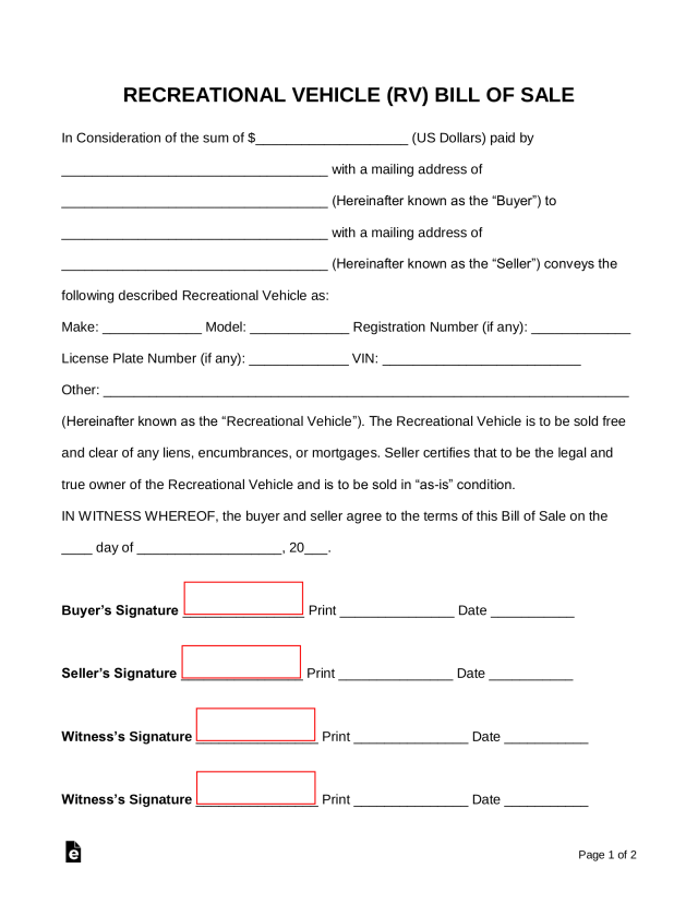 Free Recreational Vehicle (RV) Bill of Sale Form - Word  PDF – eForms