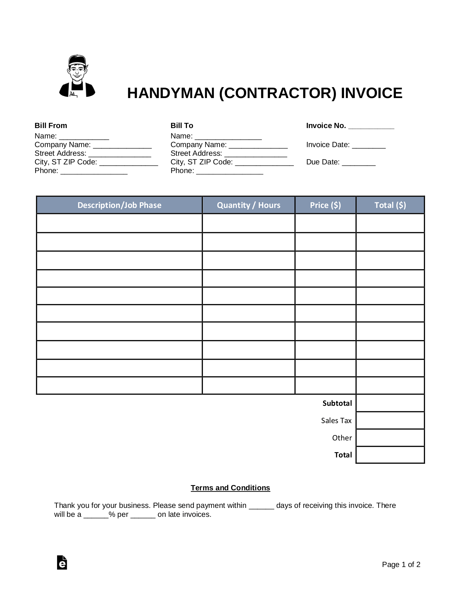 Free Handyman Contractor Invoice Template