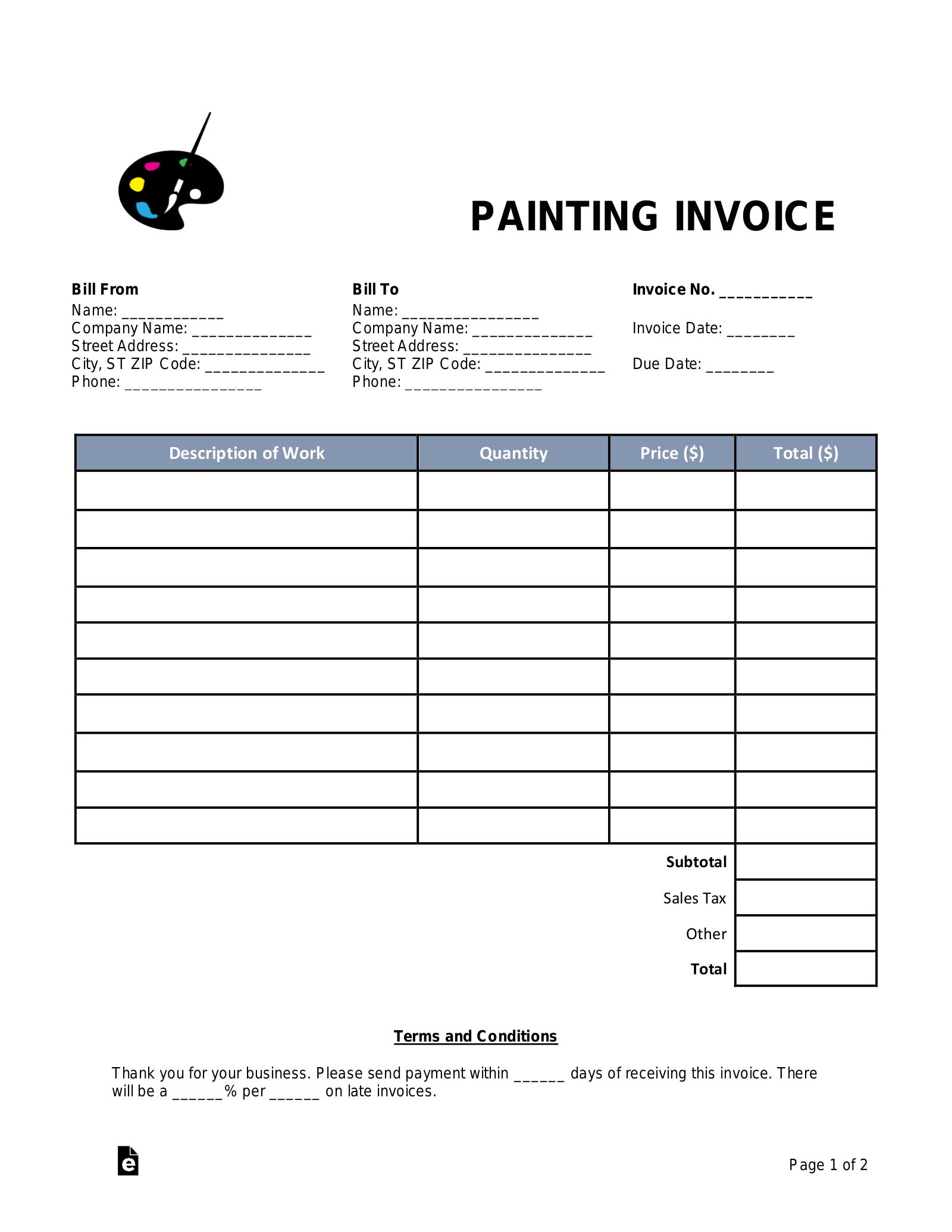 Paint Job Invoice Template Tutore