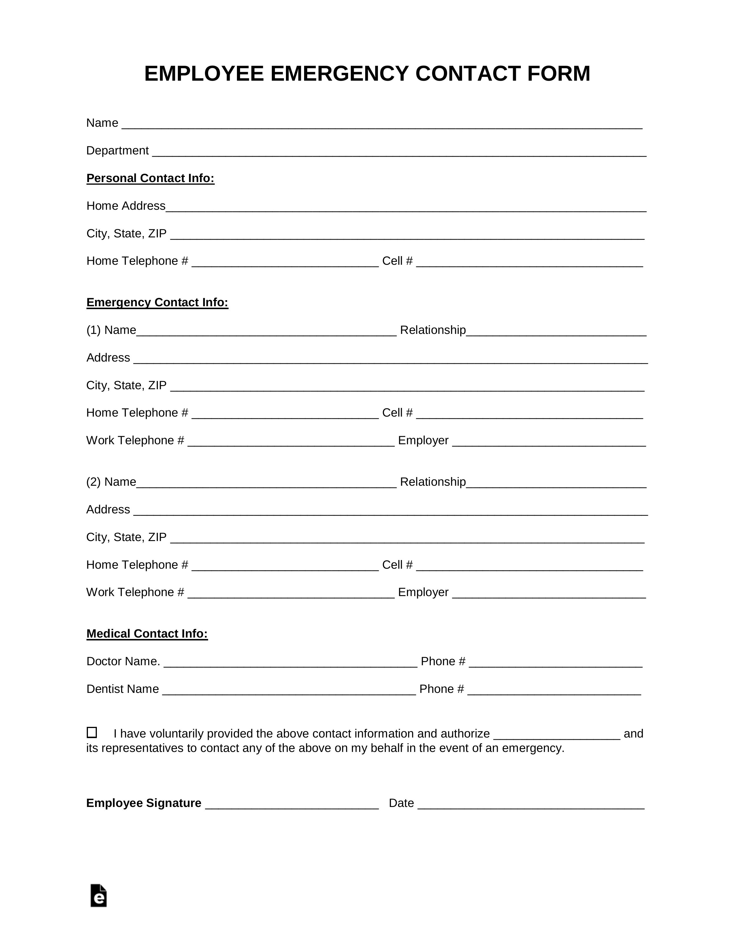 Free Employee Emergency Contact Form