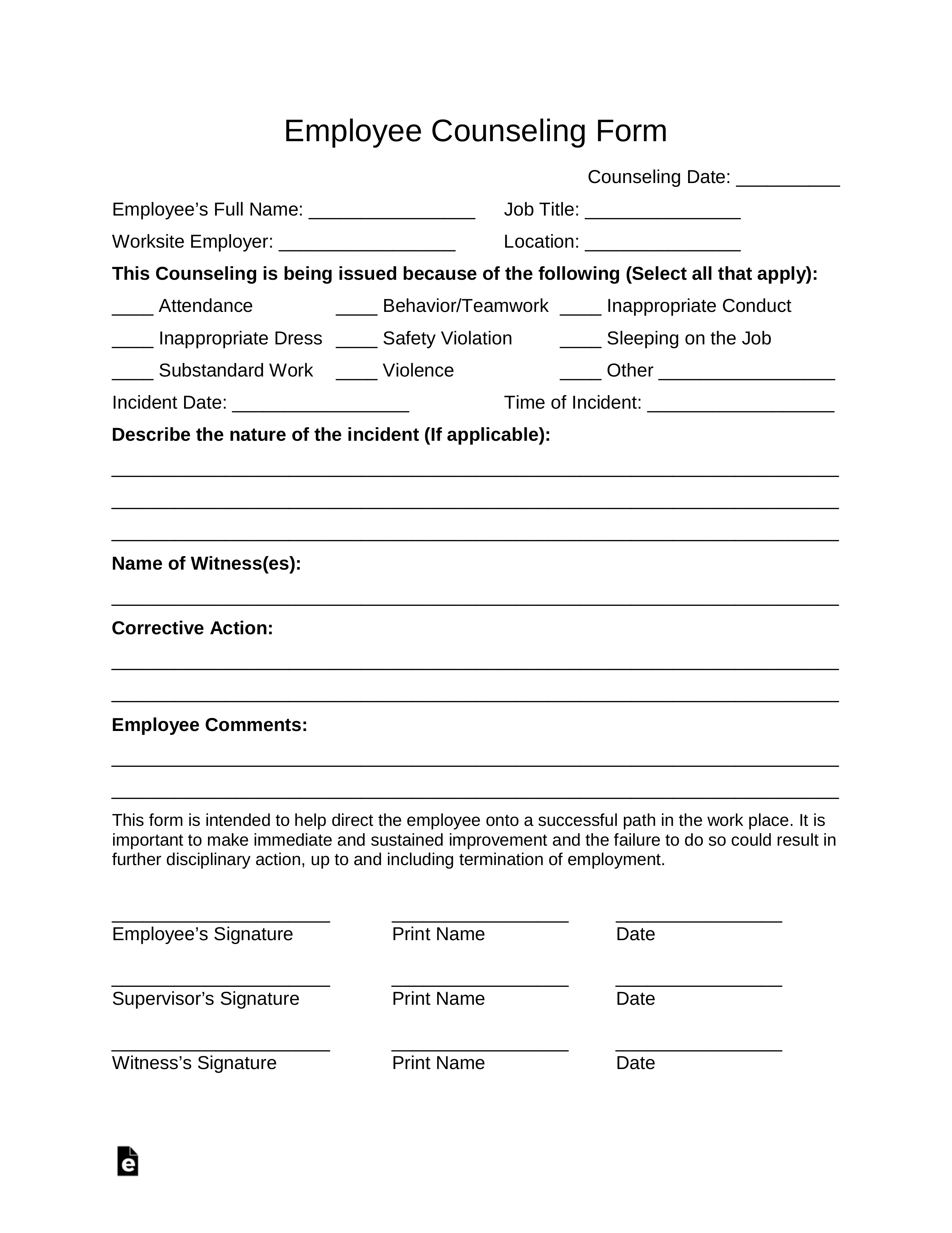 Free Employee Counseling Form Pdf Word Eforms Free