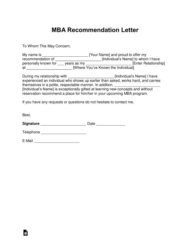 Free MBA Letter of Recommendation Template - with Samples - PDF