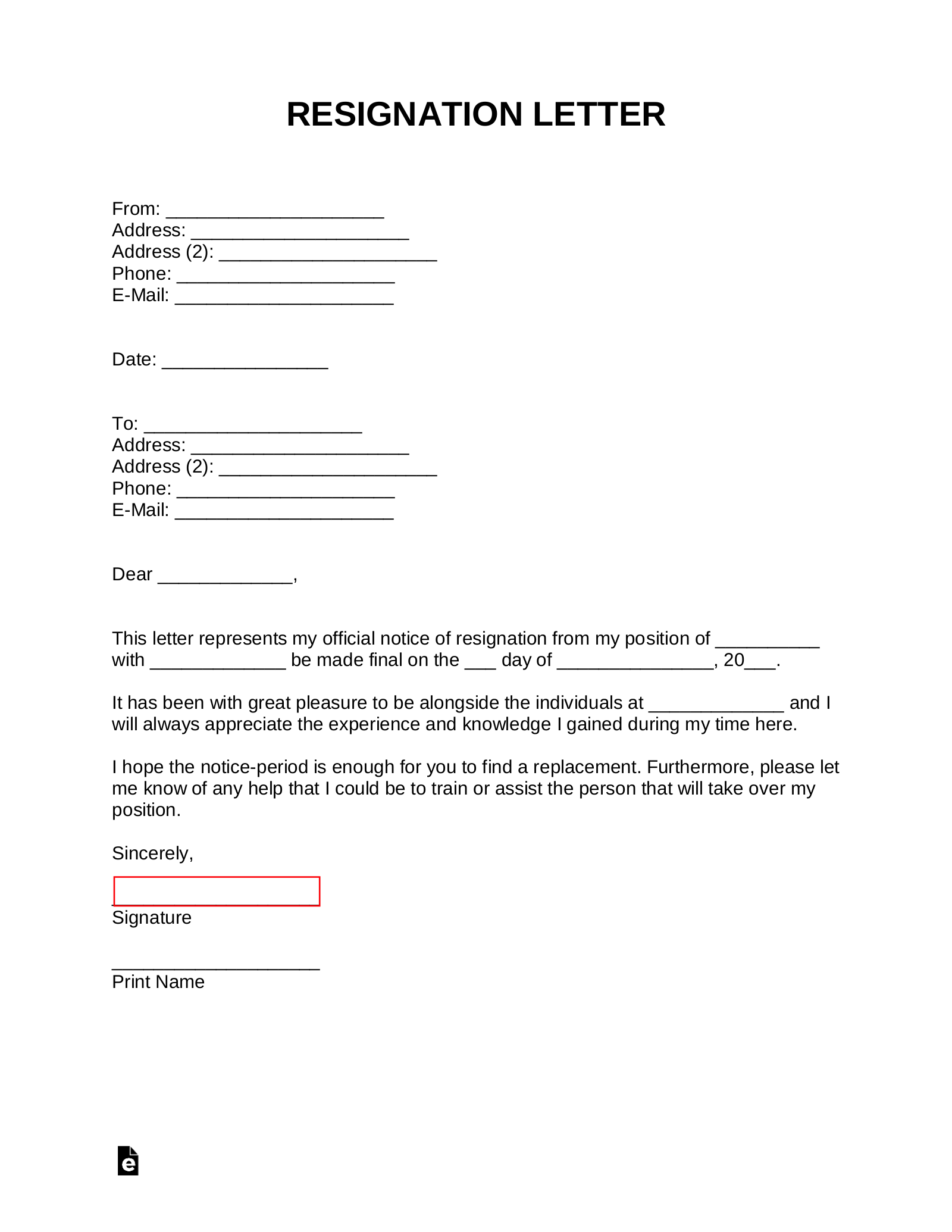 Free Resignation Letters Templates Samples Pdf Word