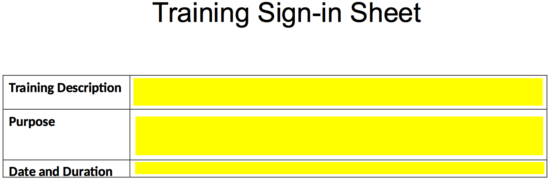 Training Sign In Sheet Template Eforms Free Fillable Forms