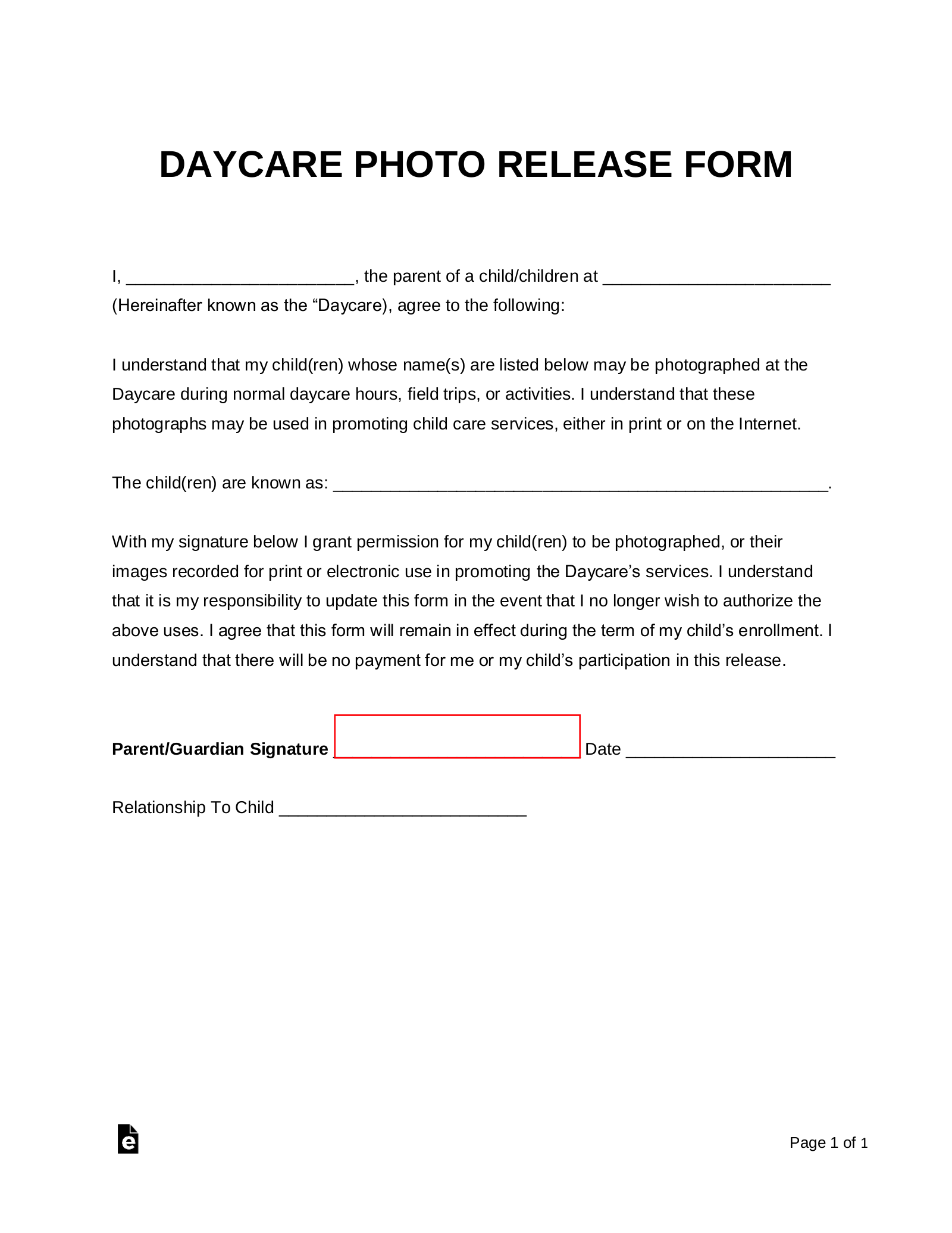 Free Daycare Photo Release Form