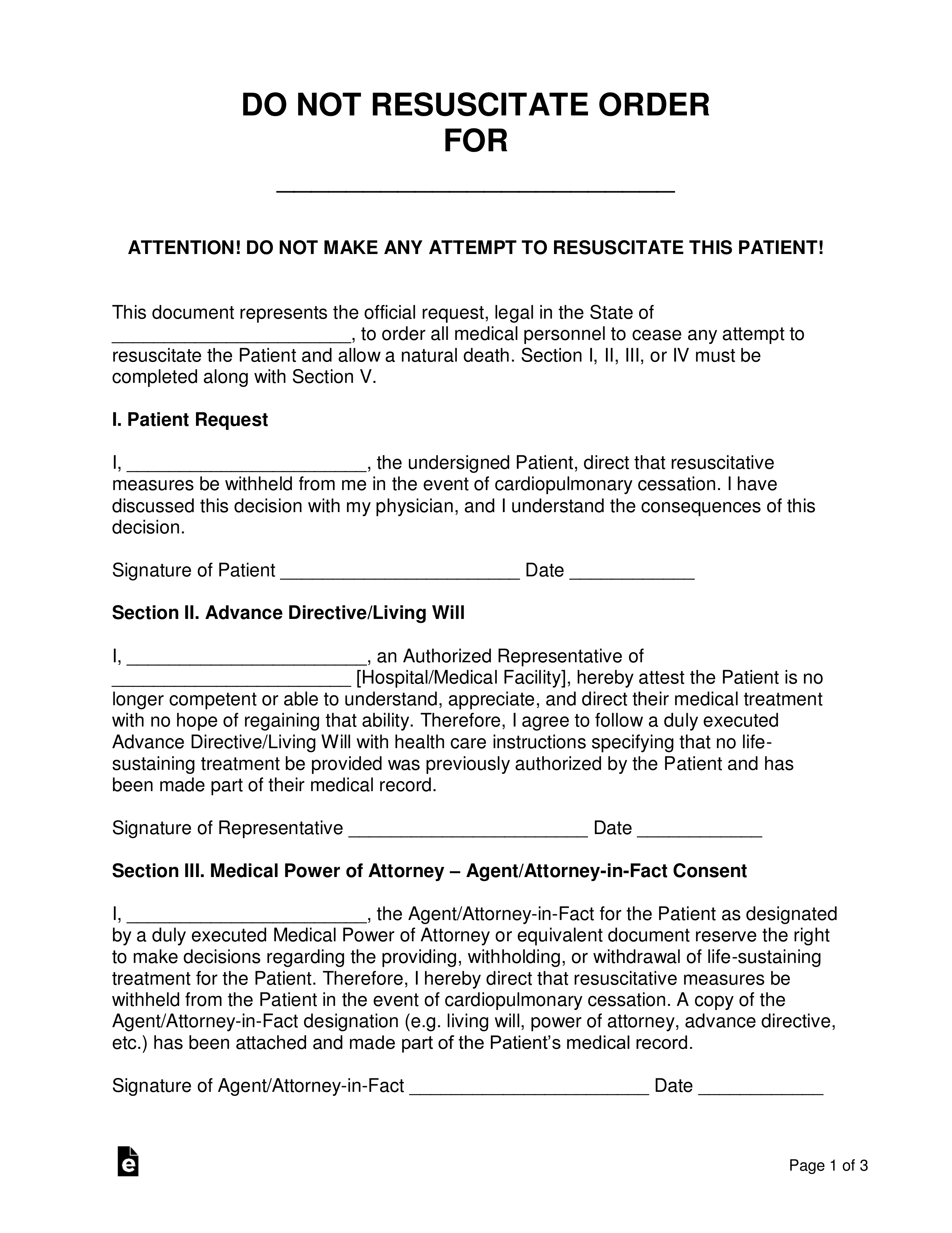 Free Do Not Resuscitate Dnr Order Forms Word Pdf
