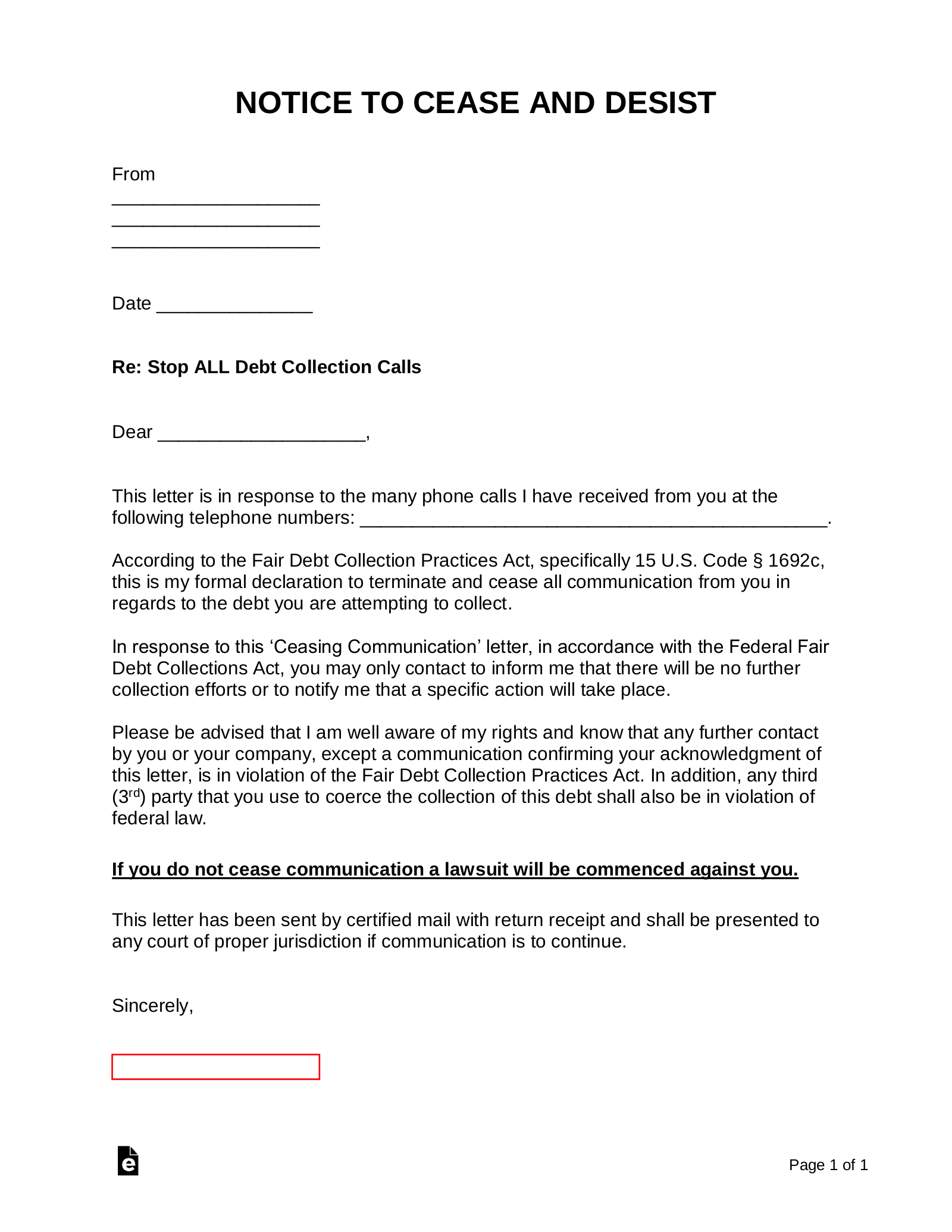 Free Debt Collector Creditor Cease And Desist Letter