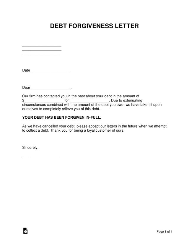 Free Debt Forgiveness Letter - Sample - Template - Word  PDF – eForms